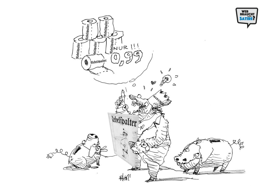 Carton von Atom Atelier – Wer braucht schon Satire? Aktion zur Stärkung der Schweizer Satire. Satire frei von Zensur, Investoren und Medienkonzernen – von den Künstler*innen direkt zu dir.