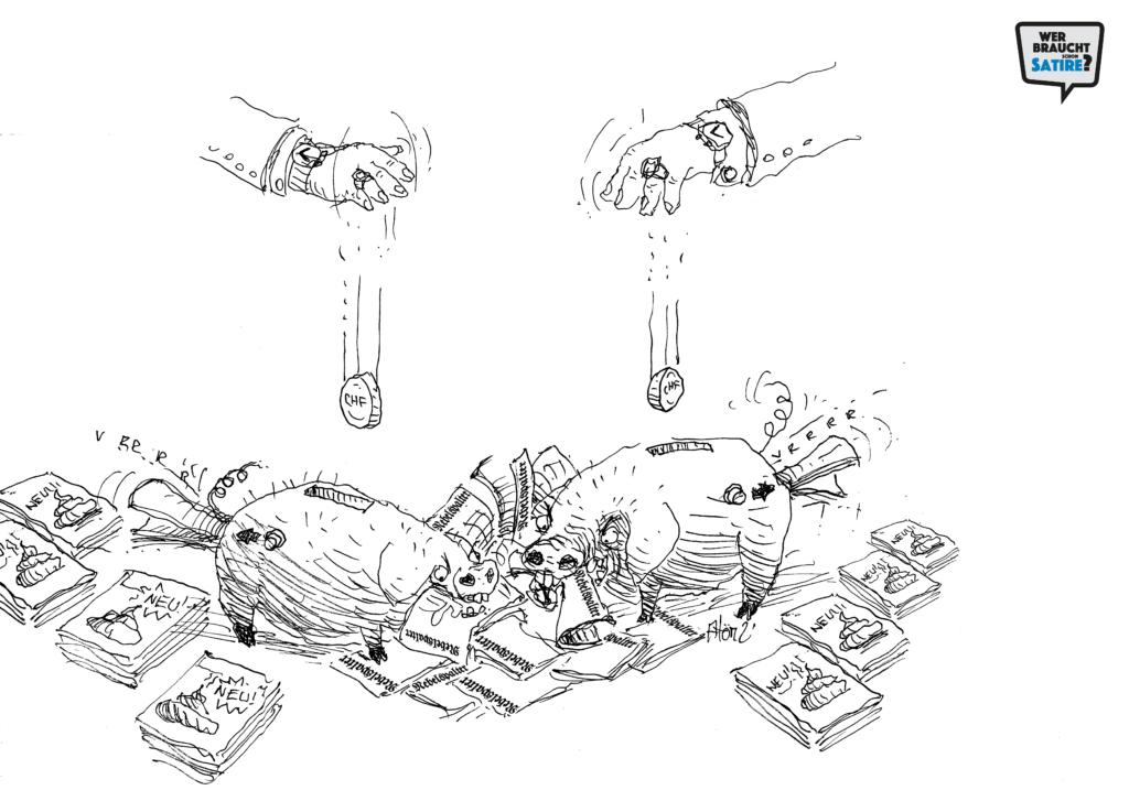 Cartoon von Atom Atelier – Wer braucht schon Satire? Aktion zur Stärkung der Schweizer Satire. Satire frei von Zensur, Investoren und Medienkonzernen – von den Künstler*innen direkt zu dir.