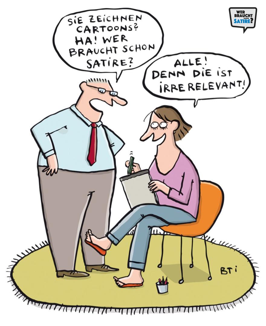 Cartoon von Bettina Schipping – Wer braucht schon Satire? Aktion zur Stärkung der Schweizer Satire. Satire frei von Zensur, Investoren und Medienkonzernen – von den Künstler*innen direkt zu dir.
