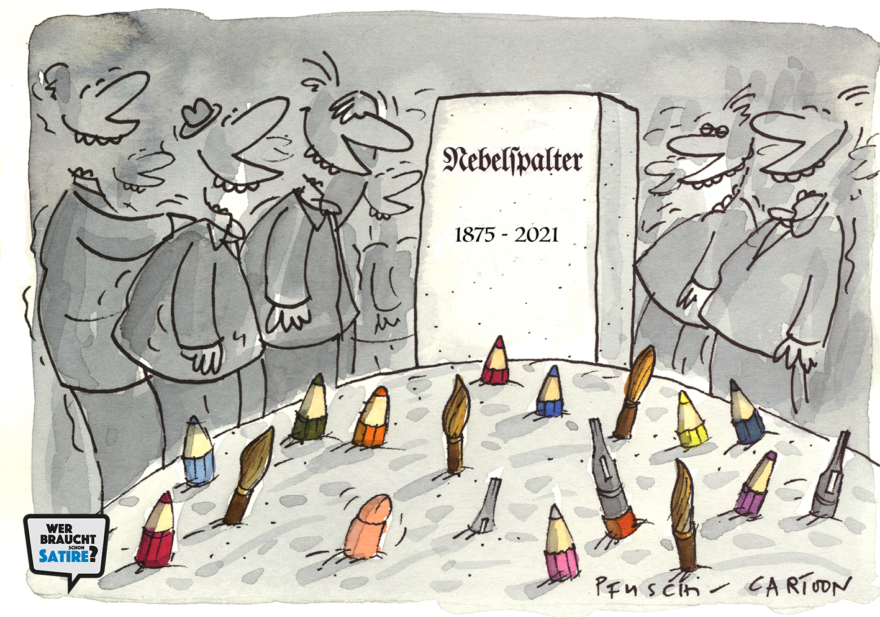 Carton von Pfuschi – Wer braucht schon Satire? Aktion zur Stärkung der Schweizer Satire. Satire frei von Zensur, Investoren und Medienkonzernen – von den Künstler*innen direkt zu dir.