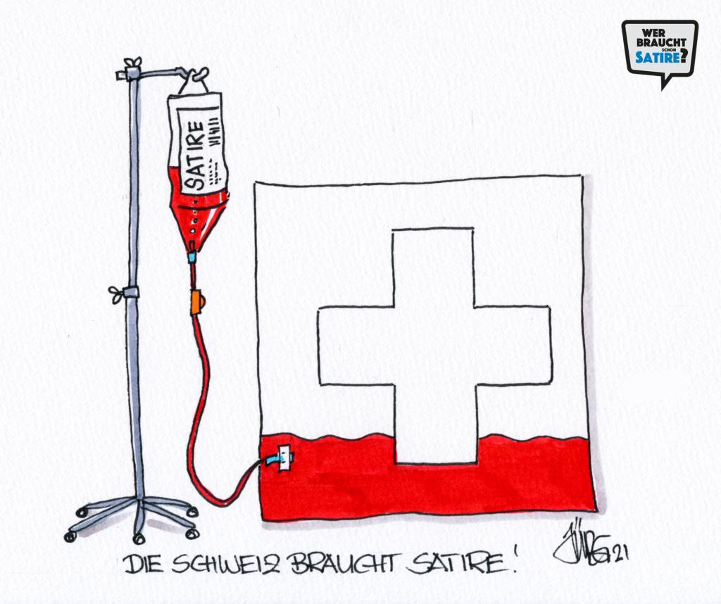 Cartoon von Jürg Kühni – Wer braucht schon Satire? Aktion zur Stärkung der Schweizer Satire. Satire frei von Zensur, Investoren und Medienkonzernen – von den Künstler*innen direkt zu dir.