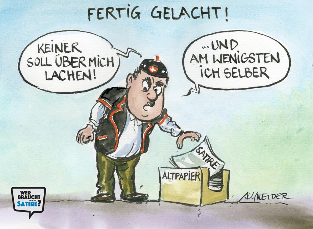 Cartoon von Carlo Schneider – Wer braucht schon Satire? Aktion zur Stärkung der Schweizer Satire. Satire frei von Zensur, Investoren und Medienkonzernen – von den Künstler*innen direkt zu dir.