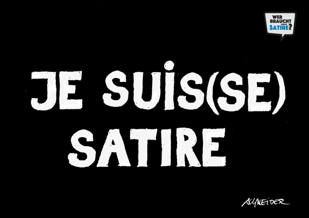 Je Suisse Satire von Carlo Schneider – Wer braucht schon Satire? Aktion zur Stärkung der Schweizer Satire. Satire frei von Zensur, Investoren und Medienkonzernen – von den Künstler*innen direkt zu dir.