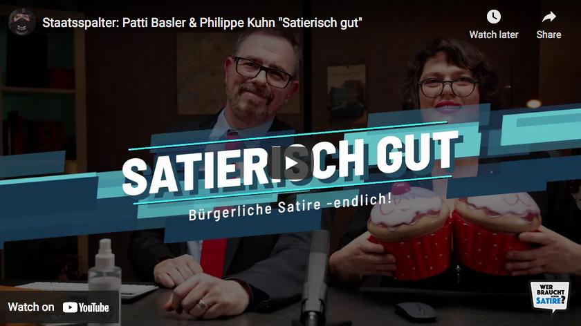 Satire von Patti Basler und Philipp Kuhn – Wer braucht schon Satire? Aktion zur Stärkung der Schweizer Satire. Satire frei von Zensur, Investoren und Medienkonzernen – von den Künstler*innen direkt zu dir.