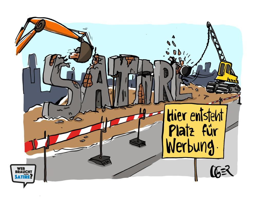 Cartoon von Oger – Wer braucht schon Satire? Aktion zur Stärkung der Schweizer Satire. Satire frei von Zensur, Investoren und Medienkonzernen – von den Künstler*innen direkt zu dir.