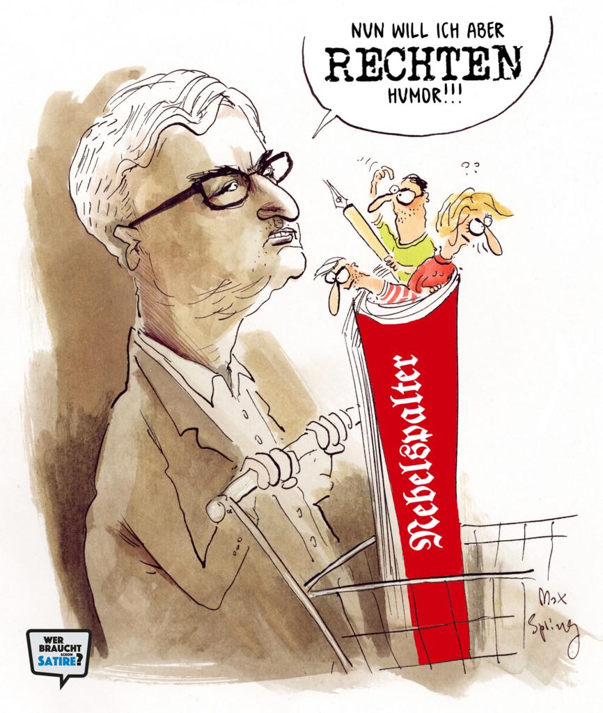 Cartoon von Max Spring – Wer braucht schon Satire? Aktion zur Stärkung der Schweizer Satire. Satire frei von Zensur, Investoren und Medienkonzernen – von den Künstler*innen direkt zu dir.