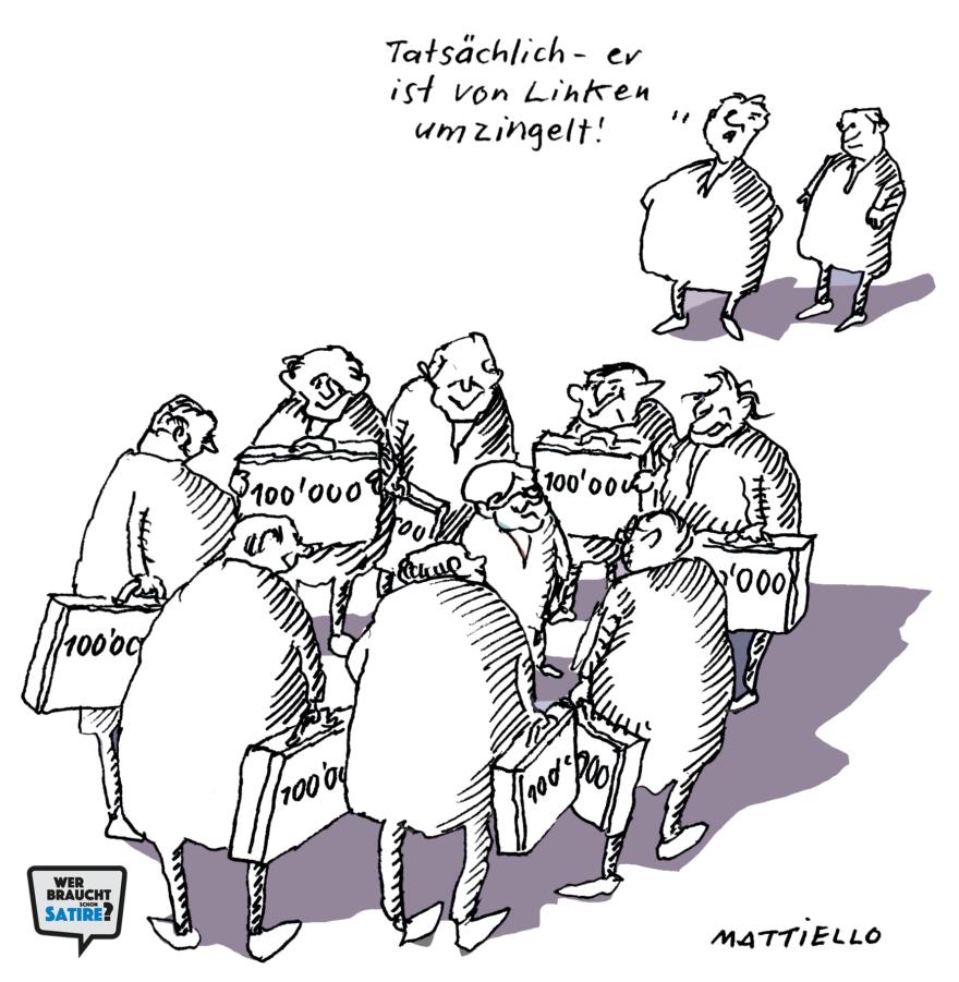 Cartoon von Ernst Mattiello – Wer braucht schon Satire? Aktion zur Stärkung der Schweizer Satire. Satire frei von Zensur, Investoren und Medienkonzernen – von den Künstler*innen direkt zu dir.