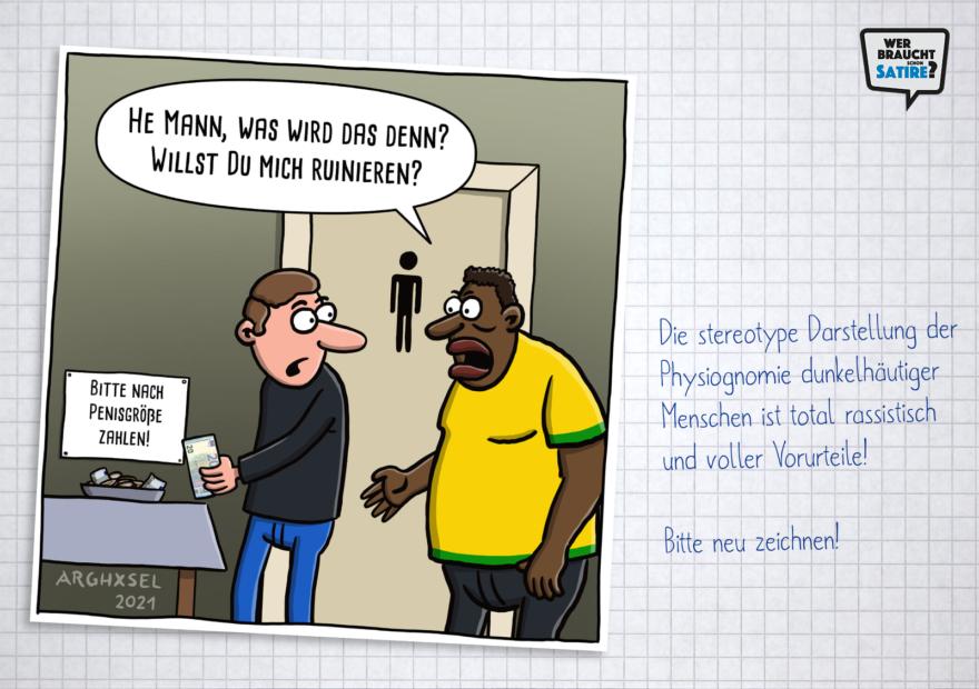 Cartoon von Arghxsel Cartoons – Wer braucht schon Satire? Aktion zur Stärkung der Schweizer Satire. Satire frei von Zensur, Investoren und Medienkonzernen – von den Künstler*innen direkt zu dir.