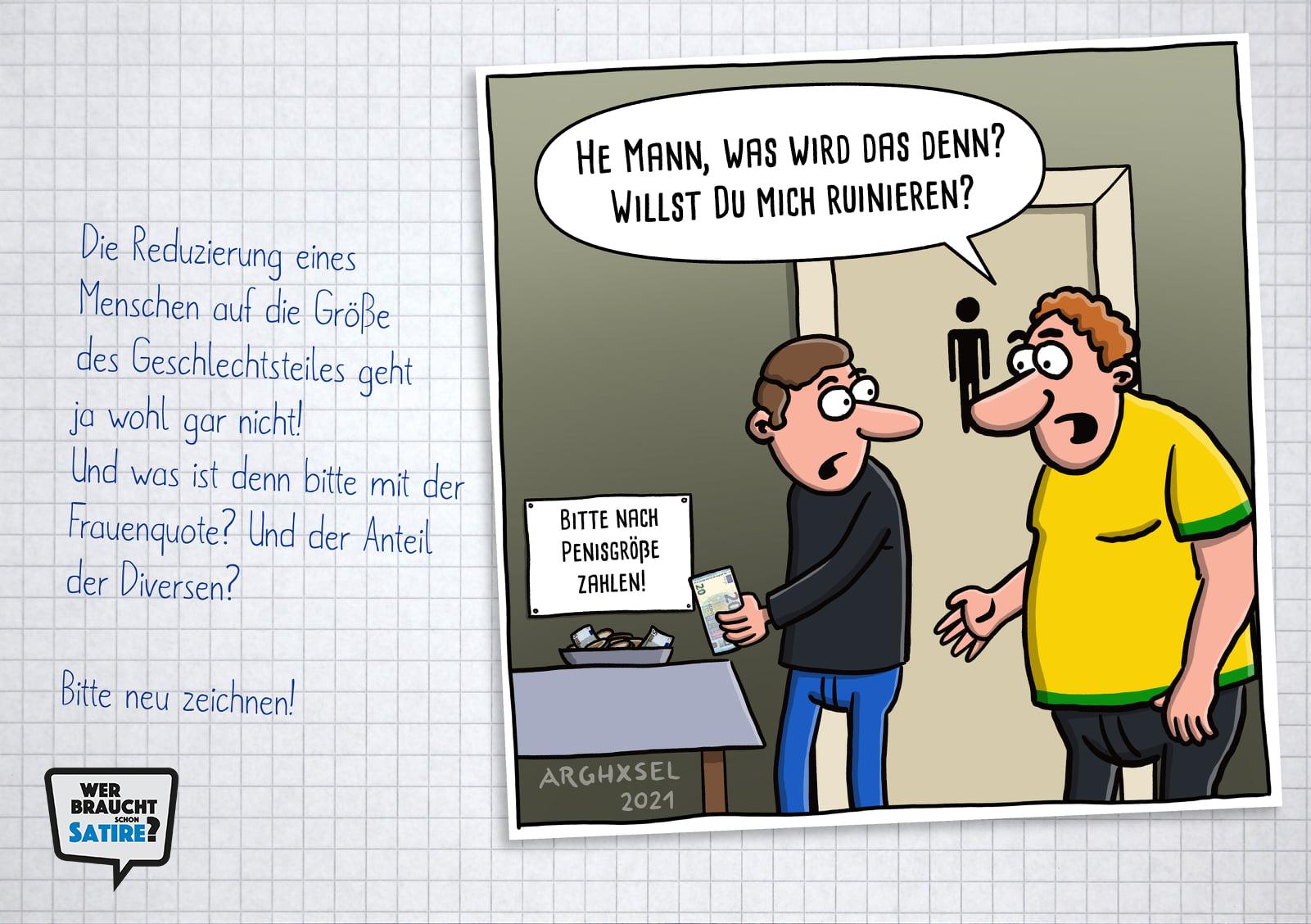 Carton von Arghxsel Cartoons – Wer braucht schon Satire? Aktion zur Stärkung der Schweizer Satire. Satire frei von Zensur, Investoren und Medienkonzernen – von den Künstler*innen direkt zu dir.
