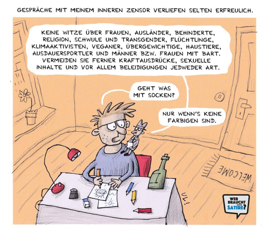Cartoon von Uli Döring – Wer braucht schon Satire? Aktion zur Stärkung der Schweizer Satire. Satire frei von Zensur, Investoren und Medienkonzernen – von den Künstler*innen direkt zu dir.