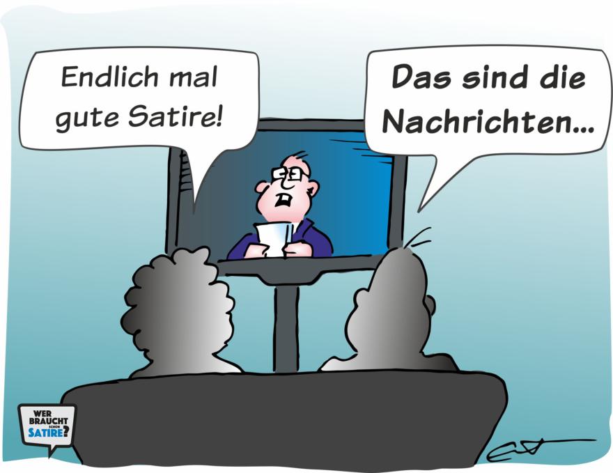 Cartoon von Bernd Eisert Wer braucht schon Satire? Aktion zur Stärkung der Schweizer Satire. Satire frei von Zensur, Investoren und Medienkonzernen – von den Künstler*innen direkt zu dir.