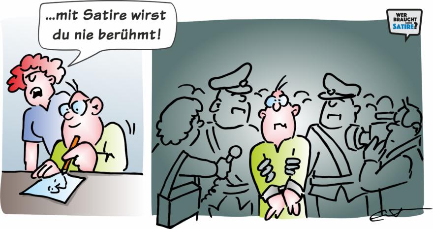 Cartoon von Bernd Eisert – Wer braucht schon Satire? Aktion zur Stärkung der Schweizer Satire. Satire frei von Zensur, Investoren und Medienkonzernen – von den Künstler*innen direkt zu dir.