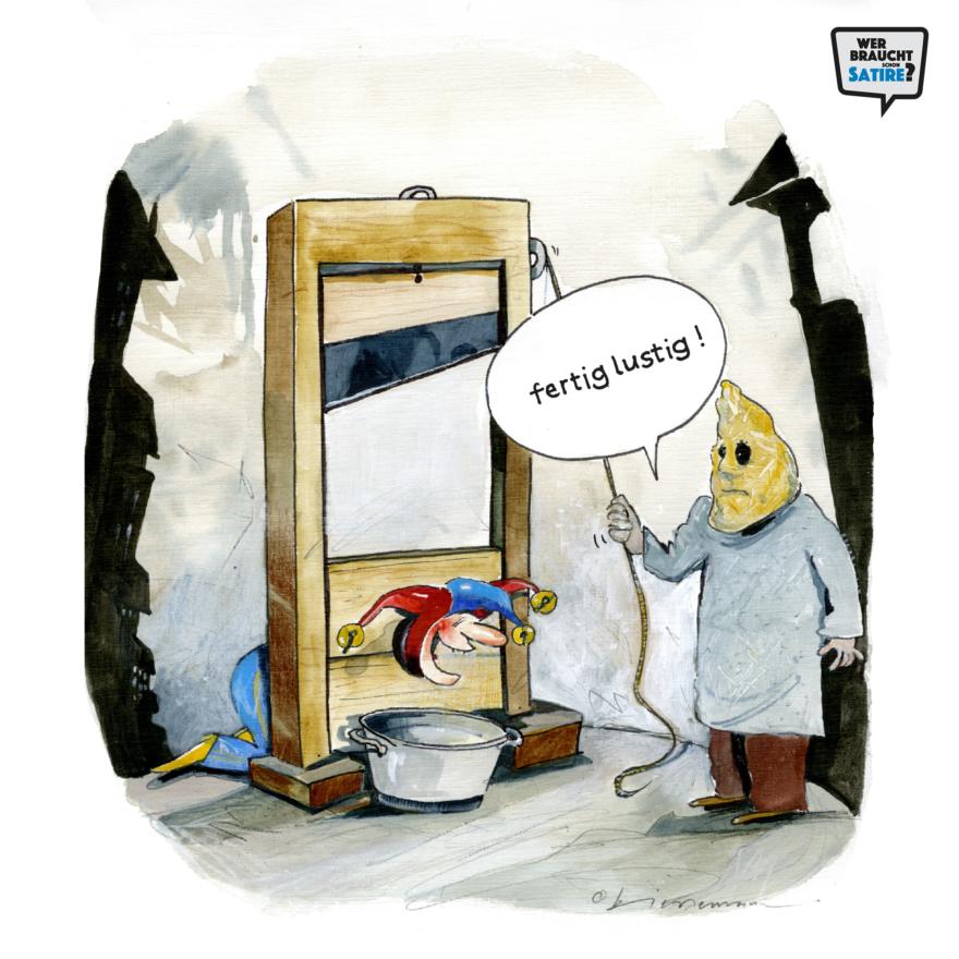 Cartoon von Chrigu Biedermann – Wer braucht schon Satire? Aktion zur Stärkung der Schweizer Satire. Satire frei von Zensur, Investoren und Medienkonzernen – von den Künstler*innen direkt zu dir.