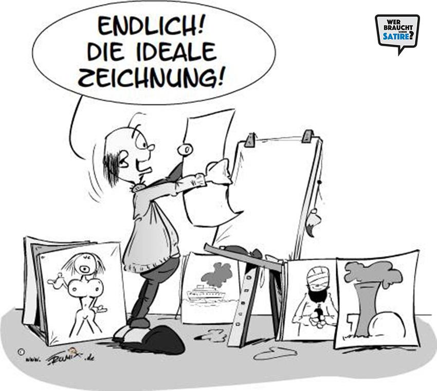 Cartoon von Trumix – Wer braucht schon Satire? Aktion zur Stärkung der Schweizer Satire. Satire frei von Zensur, Investoren und Medienkonzernen – von den Künstler*innen direkt zu dir.