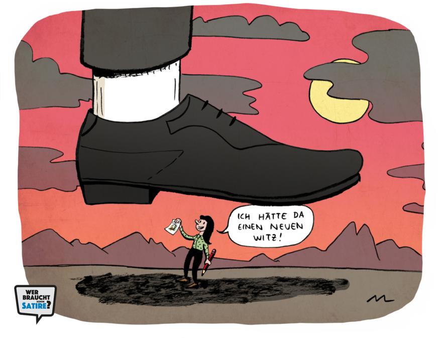 Cartoon von Marina Lutz – Wer braucht schon Satire? Aktion zur Stärkung der Schweizer Satire. Satire frei von Zensur, Investoren und Medienkonzernen – von den Künstler*innen direkt zu dir.