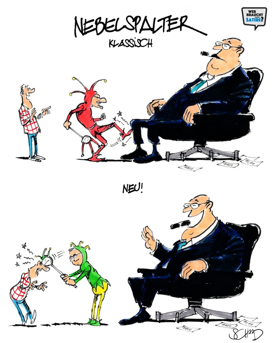 Cartoon von Felix Schaad – Wer braucht schon Satire? Aktion zur Stärkung der Schweizer Satire. Satire frei von Zensur, Investoren und Medienkonzernen – von den Künstler*innen direkt zu dir.
