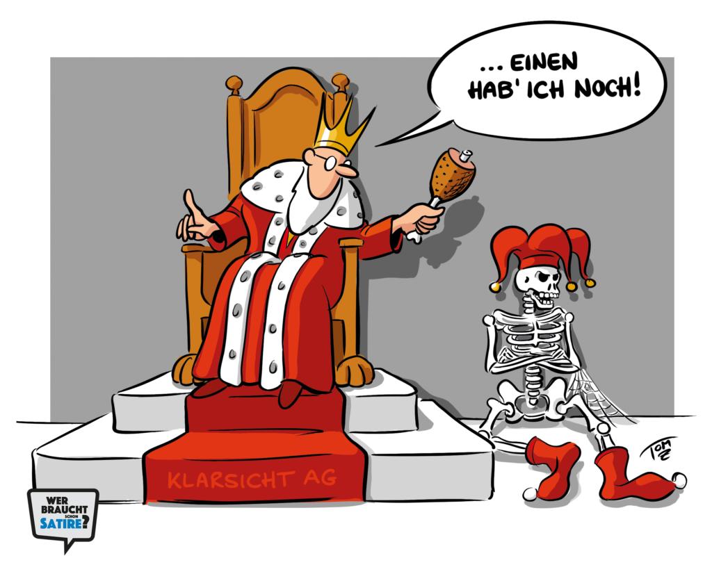 Cartoon von Tomz – Wer braucht schon Satire? Aktion zur Stärkung der Schweizer Satire. Satire frei von Zensur, Investoren und Medienkonzernen – von den Künstler*innen direkt zu dir.