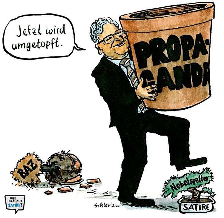 Cartoon von Schlorian – Wer braucht schon Satire? Aktion zur Stärkung der Schweizer Satire. Satire frei von Zensur, Investoren und Medienkonzernen – von den Künstler*innen direkt zu dir.