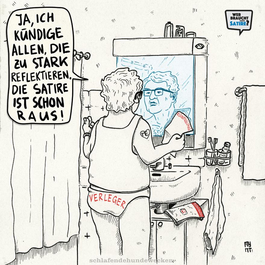 Cartoon von Mynt – Wer braucht schon Satire? Aktion zur Stärkung der Schweizer Satire. Satire frei von Zensur, Investoren und Medienkonzernen – von den Künstler*innen direkt zu dir.