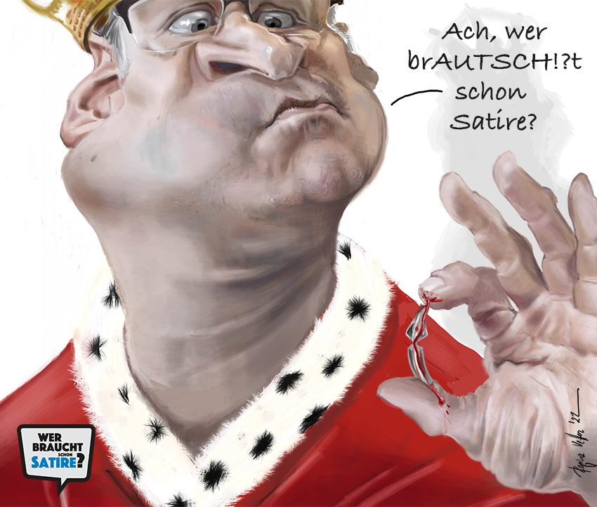 Cartoon von Regina Vetter – Wer braucht schon Satire? Aktion zur Stärkung der Schweizer Satire. Satire frei von Zensur, Investoren und Medienkonzernen – von den Künstler*innen direkt zu dir.