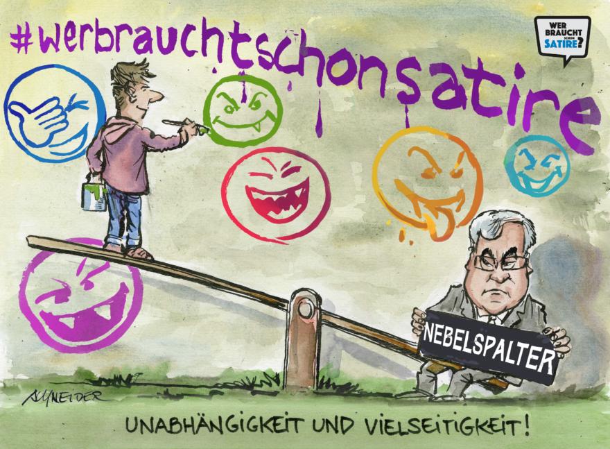 Cartoon von Carlo Schneider – Wer braucht schon Satire? – Wer braucht schon Satire? Aktion zur Stärkung der Schweizer Satire. Satire frei von Zensur, Investoren und Medienkonzernen – von den Künstler*innen direkt zu dir.