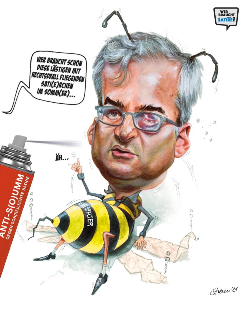 Cartoon von Michael Streu – Wer braucht schon Satire? – Wer braucht schon Satire? Aktion zur Stärkung der Schweizer Satire. Satire frei von Zensur, Investoren und Medienkonzernen – von den Künstler*innen direkt zu dir.