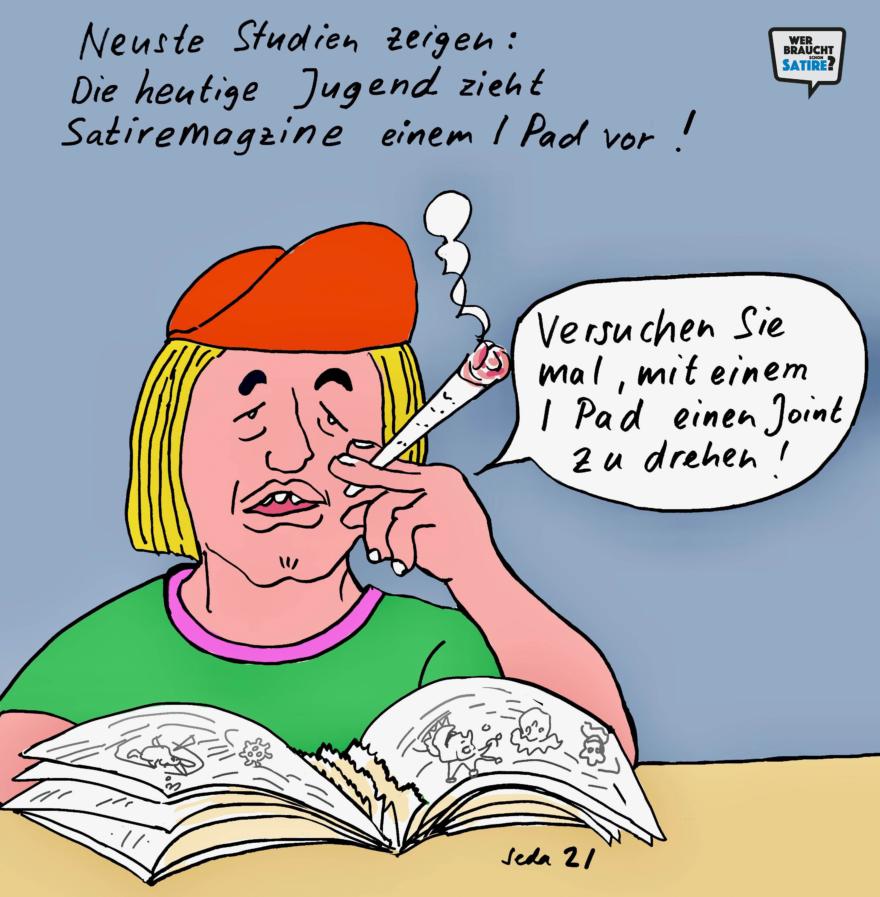Cartoon von Seda – Wer braucht schon Satire? – Wer braucht schon Satire? Aktion zur Stärkung der Schweizer Satire. Satire frei von Zensur, Investoren und Medienkonzernen – von den Künstler*innen direkt zu dir.