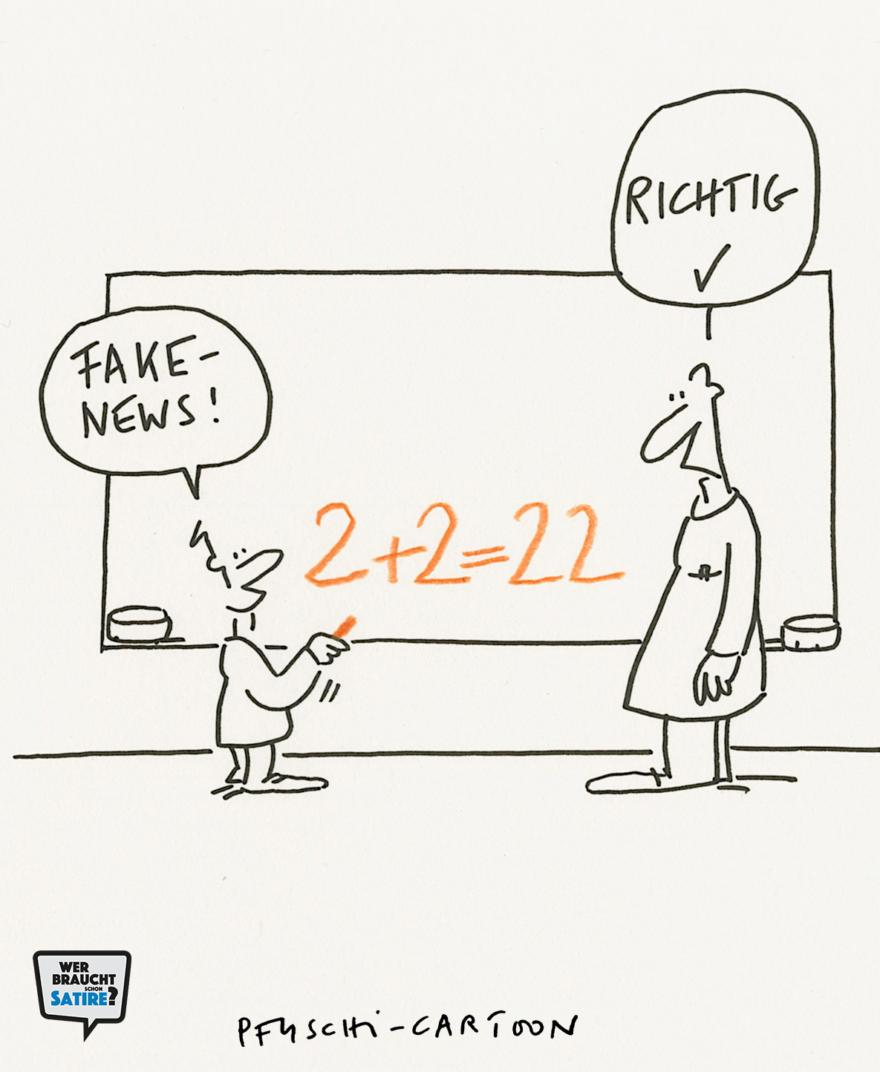 Cartoon von Pfuschi – Wer braucht schon Satire? Aktion zur Stärkung der Schweizer Satire. Satire frei von Zensur, Investoren und Medienkonzernen – von den Künstler*innen direkt zu dir.