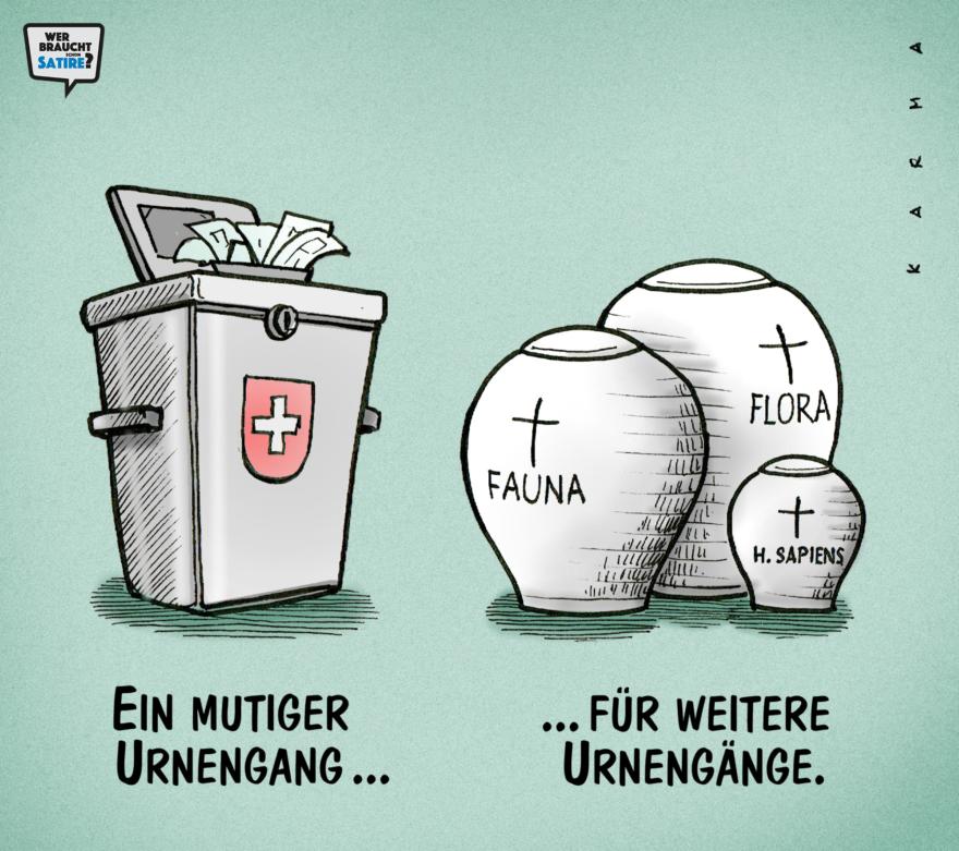 Cartoon von Karma – Wer braucht schon Satire? Aktion zur Stärkung der Schweizer Satire. Satire frei von Zensur, Investoren und Medienkonzernen – von den Künstler*innen direkt zu dir.