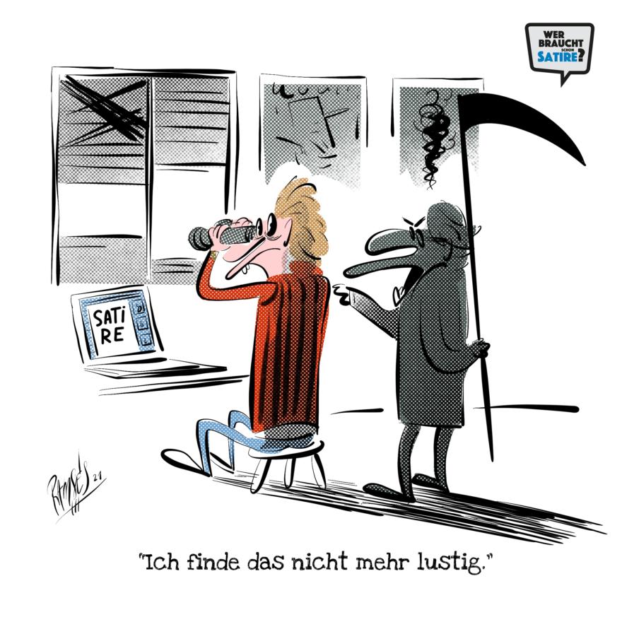 Cartoon von Ramses – Wer braucht schon Satire? Aktion zur Stärkung der Schweizer Satire. Satire frei von Zensur, Investoren und Medienkonzernen – von den Künstler*innen direkt zu dir.