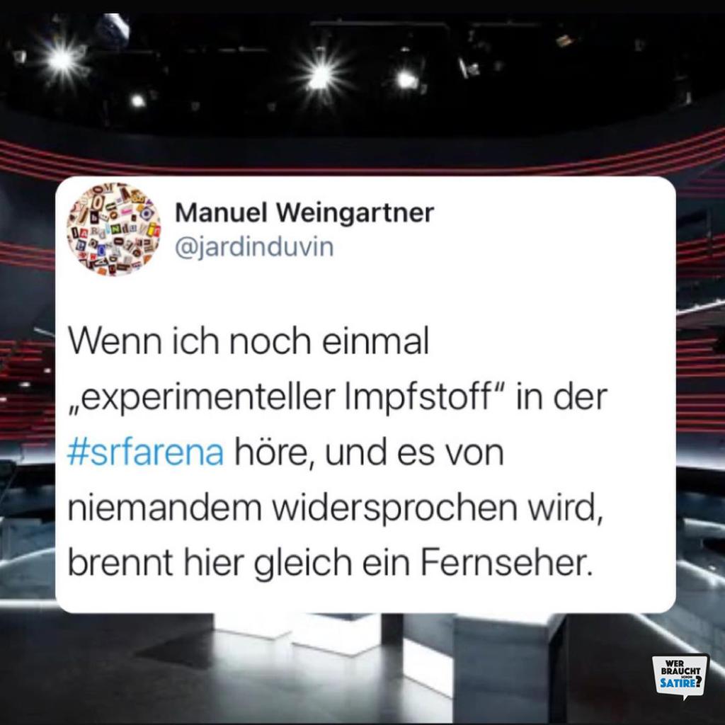 Tweet von Jardinduvin – Wer braucht schon Satire? Aktion zur Stärkung der Schweizer Satire. Satire frei von Zensur, Investoren und Medienkonzernen – von den Künstler*innen direkt zu dir.
