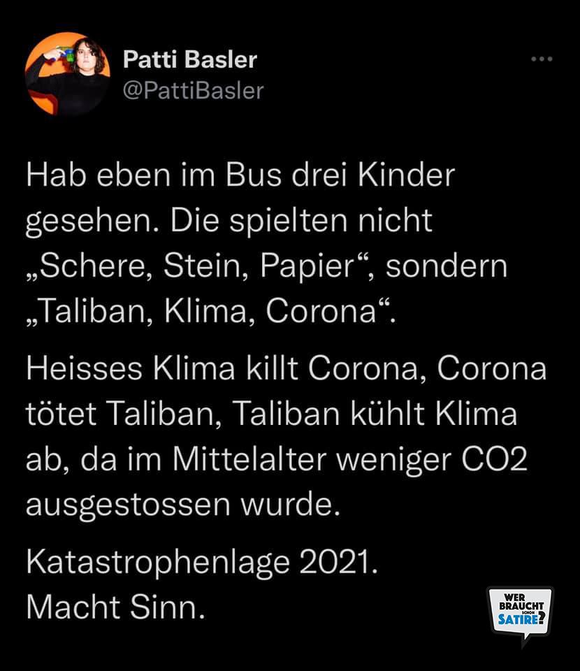Tweet von Patti Basler – Wer braucht schon Satire? Aktion zur Stärkung der Schweizer Satire. Satire frei von Zensur, Investoren und Medienkonzernen – von den Künstler*innen direkt zu dir.