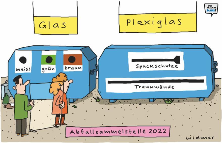 """Cartoon von Ruedi Widmer – Wer braucht schon Satire? Aktion zur Stärkung der Schweizer Satire. Satire frei von Zensur, Investoren und Medienkonzernen – von den Künstler*innen direkt zu dir."""""""