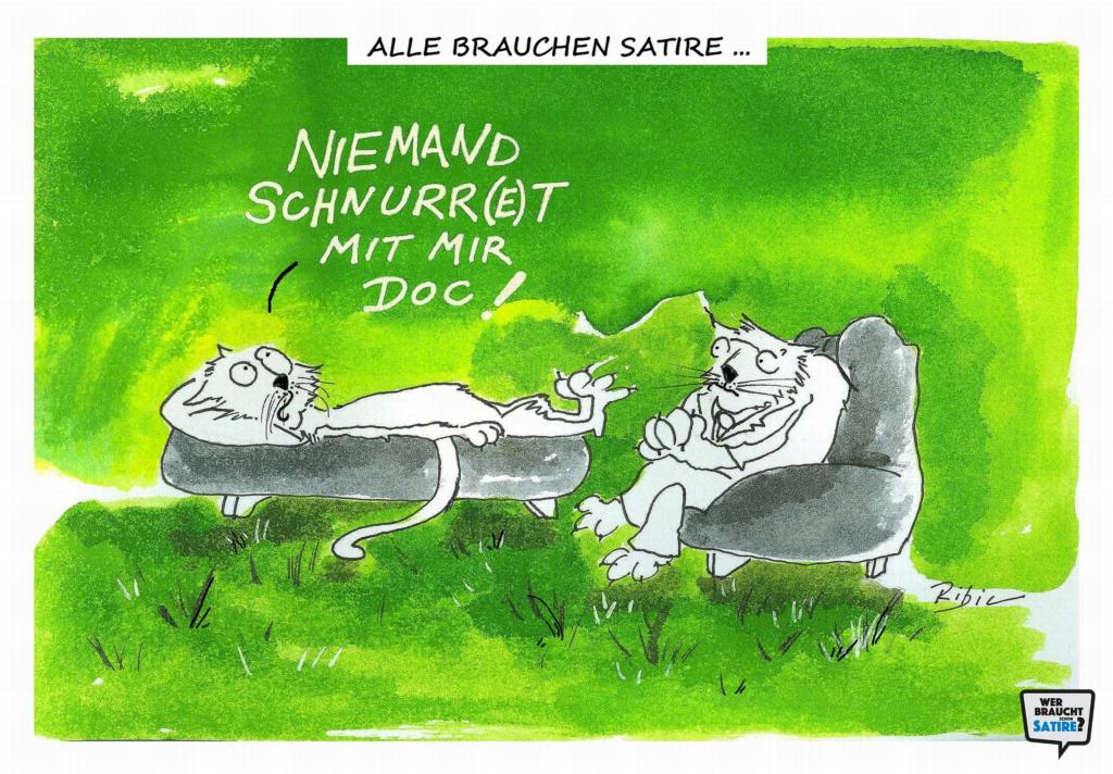 Cartoon von Ribic – Wer braucht schon Satire? Aktion zur Stärkung der Schweizer Satire. Satire frei von Zensur, Investoren und Medienkonzernen – von den Künstler*innen direkt zu dir.
